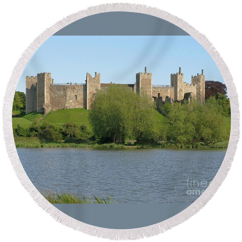 England Round Beach Towel featuring the photograph Framlingham Castle by Ann Horn