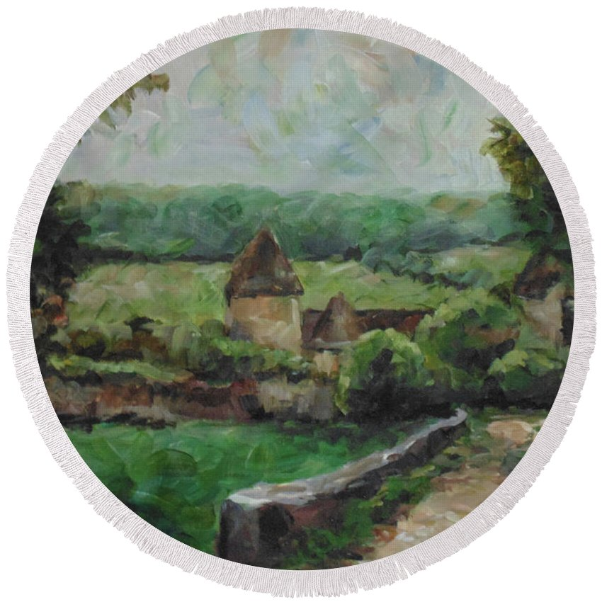 Landscape Round Beach Towel featuring the painting France, 1993 by Susan Moore