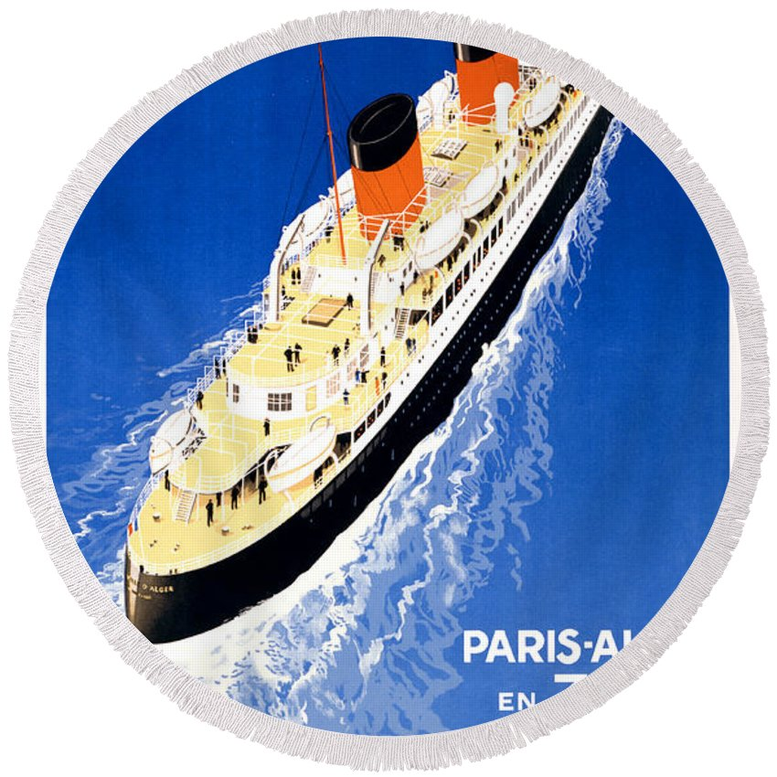 Vintage Round Beach Towel featuring the painting France Cruise Vintage Travel Poster Restored by Vintage Treasure