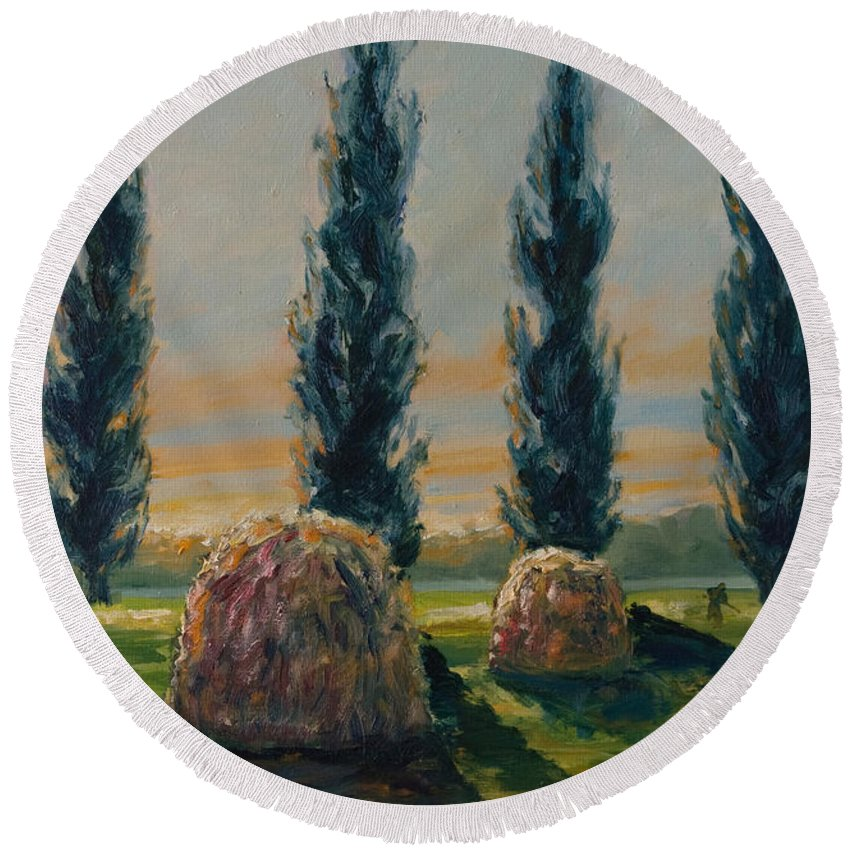 Trees Round Beach Towel featuring the painting France Iv by Rick Nederlof