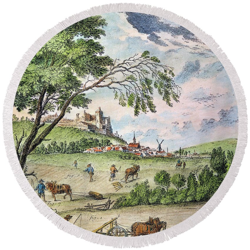 1763 Round Beach Towel featuring the photograph France: Ploughing, 1763 by Granger
