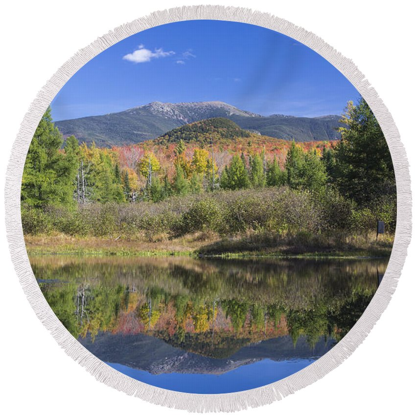 Autumn Round Beach Towel featuring the photograph Franconia Autumn Reflections by Chris Whiton