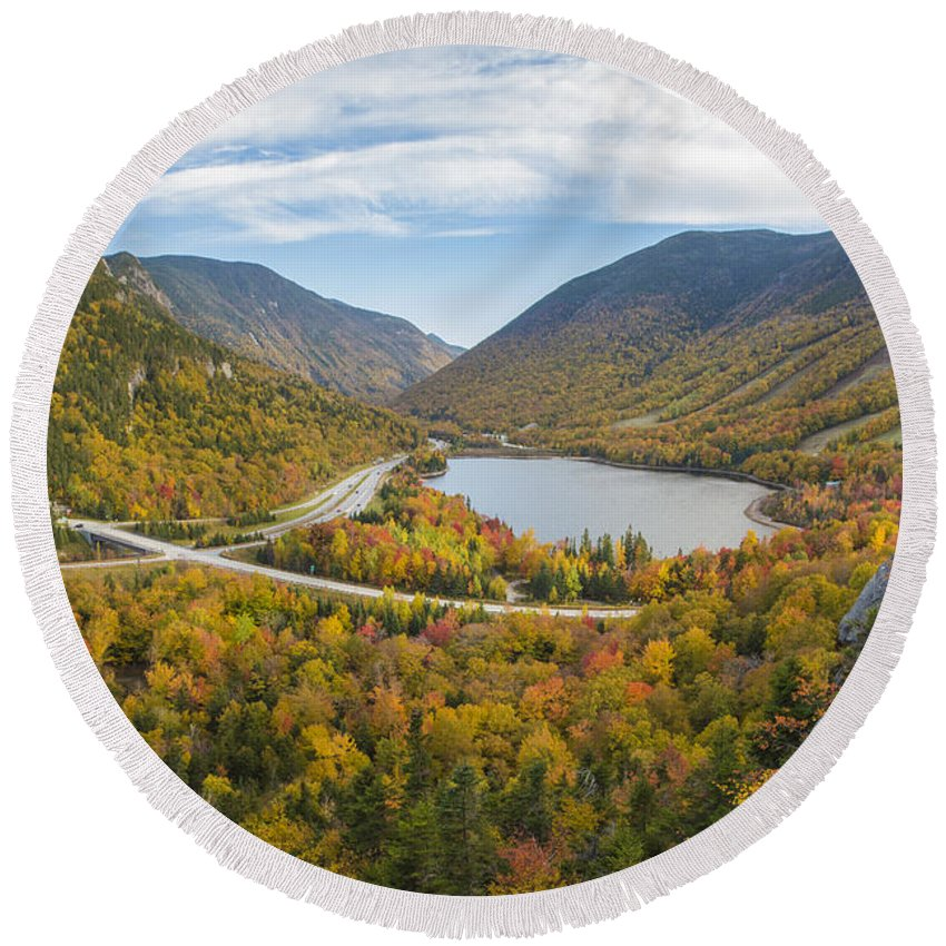 Franconia Round Beach Towel featuring the photograph Franconia Notch Autumn View by Chris Whiton