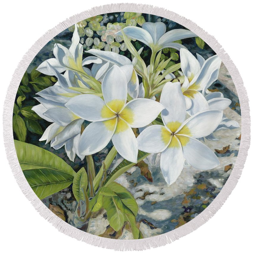 Frangipani Round Beach Towel featuring the painting Frangipani by Danielle Perry