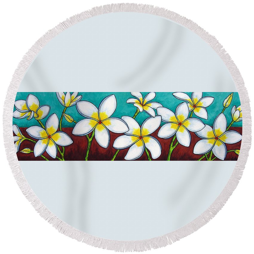 Frangipani Round Beach Towel featuring the painting Frangipani Delight by Lisa Lorenz
