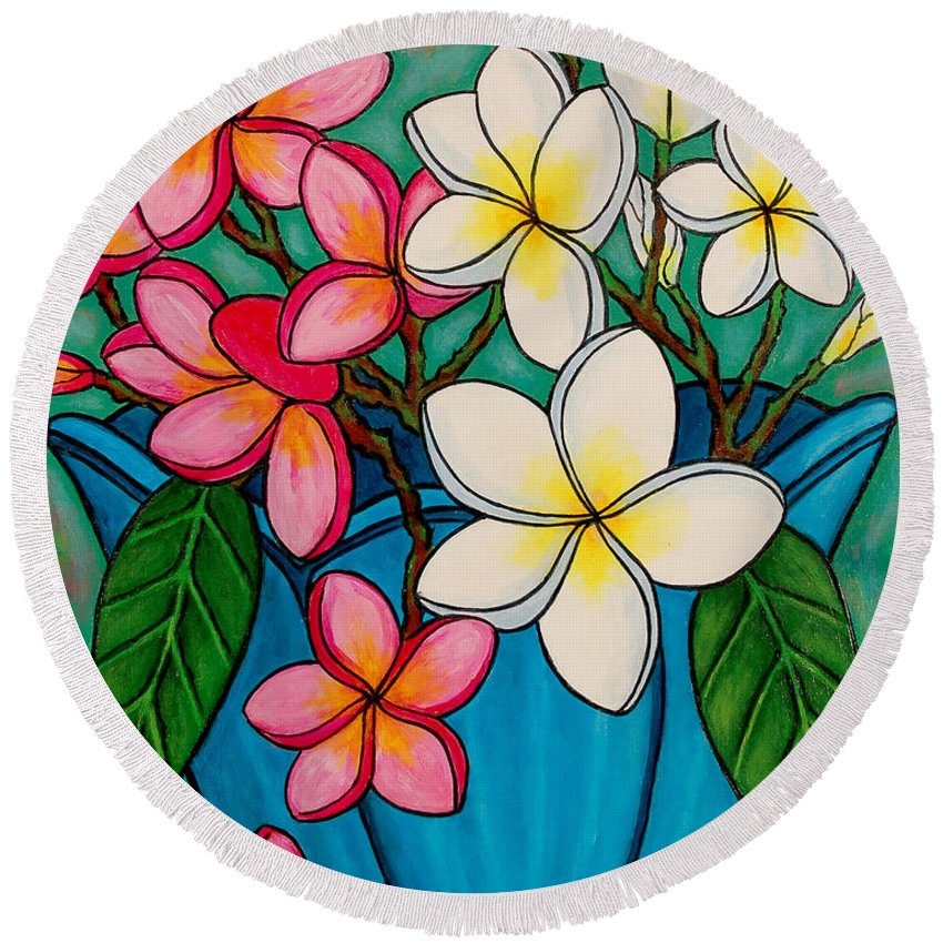 Frangipani Round Beach Towel featuring the painting Frangipani Sawadee by Lisa Lorenz