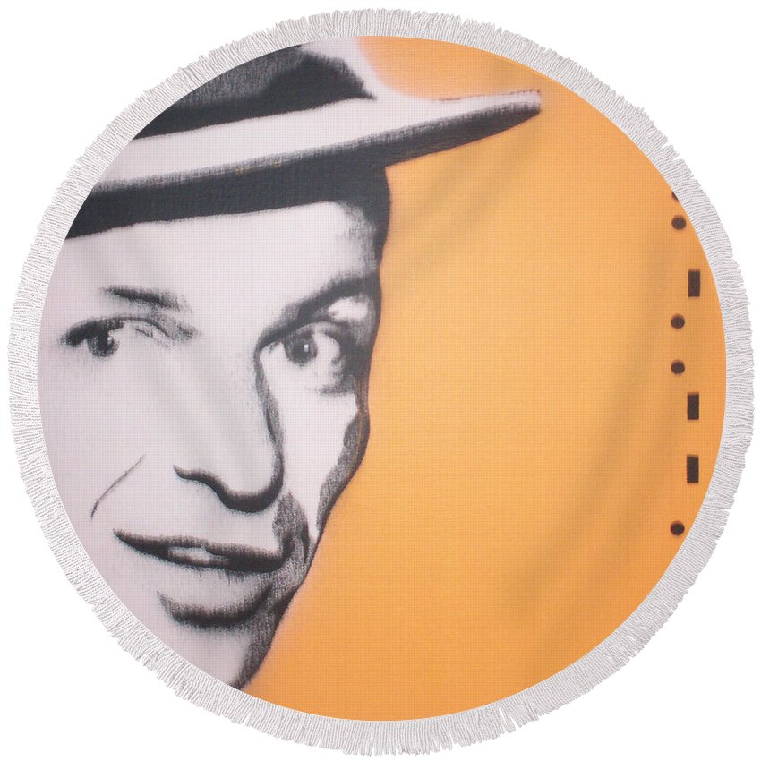 Frank Sinatra Round Beach Towel featuring the painting Frank Sinatra by Gary Hogben