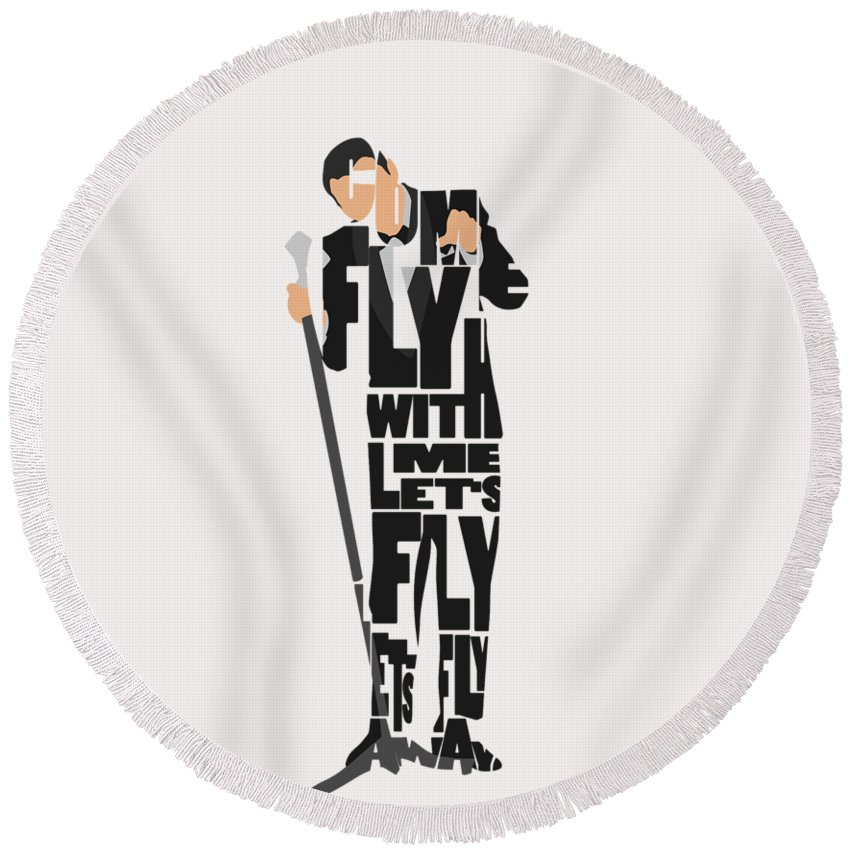 Frank Round Beach Towel featuring the painting Frank Sinatra Typography Art by Inspirowl Design