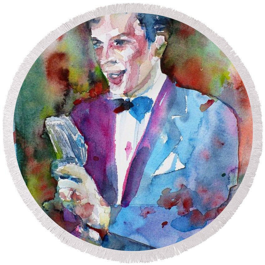 Sinatra Round Beach Towel featuring the painting Frank Sinatra - Watercolor Portrait.12 by Fabrizio Cassetta