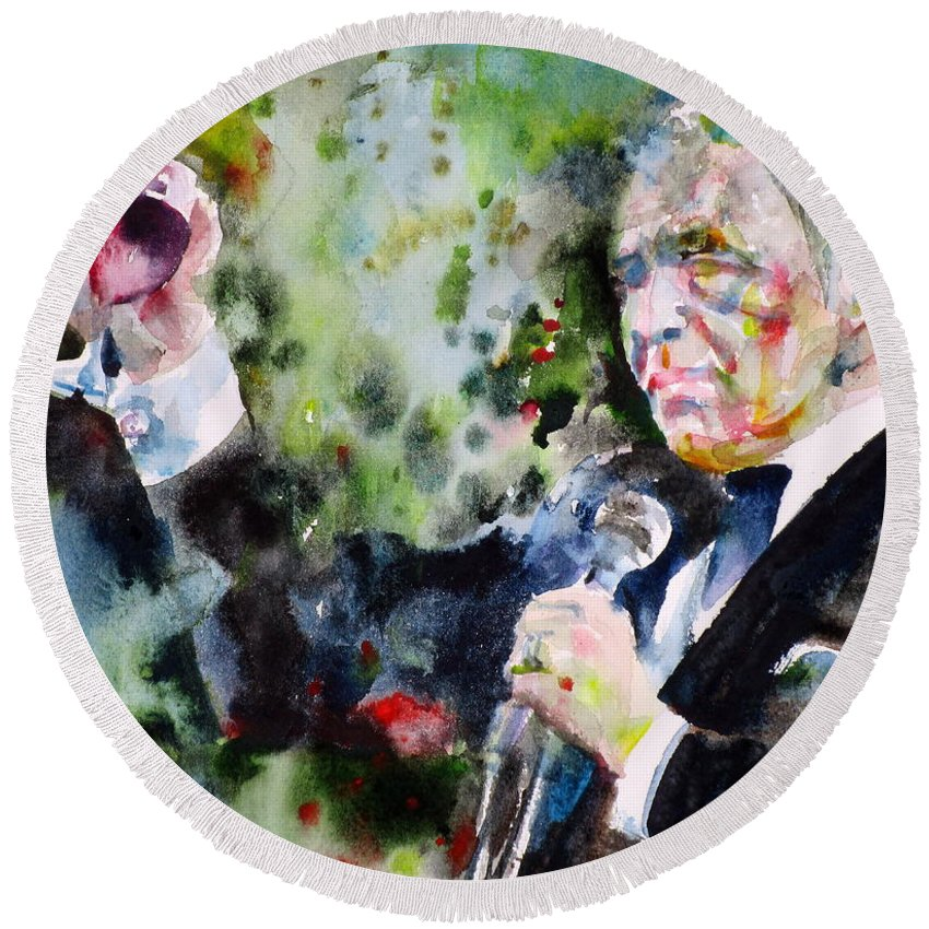 Frank Round Beach Towel featuring the painting Frank Sinatra - Watercolor Portrait.5 by Fabrizio Cassetta