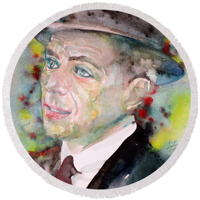 Frank Round Beach Towel featuring the painting Frank Sinatra - Watercolor Portrait.7 by Fabrizio Cassetta