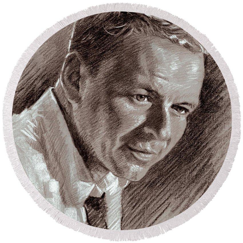 Frank Sinatra Round Beach Towel featuring the drawing Frank Sinatra by Ylli Haruni