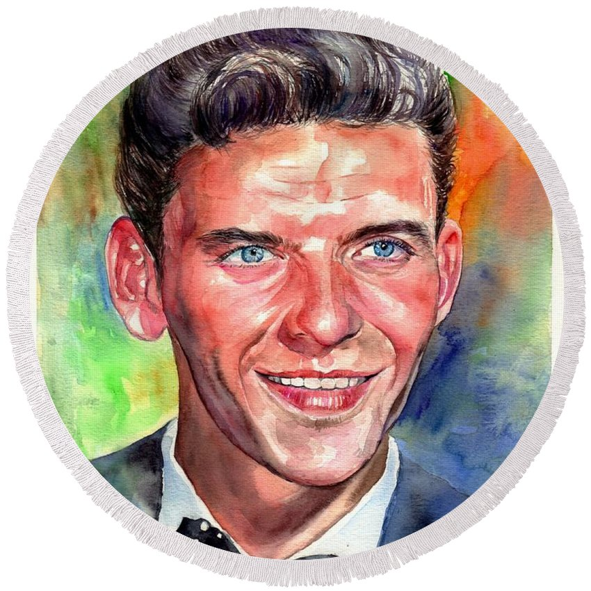Frank Round Beach Towel featuring the painting Frank Sinatra Young Watercolor by Suzann Sines