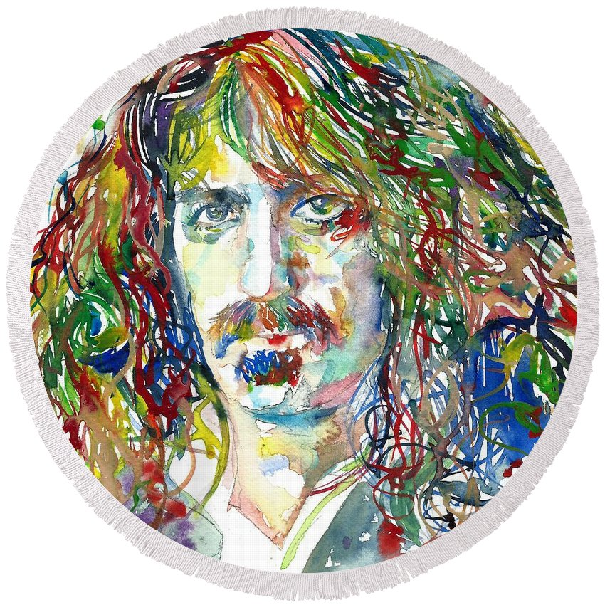 Frank Zappa Round Beach Towel featuring the painting Frank Zappa by Fabrizio Cassetta