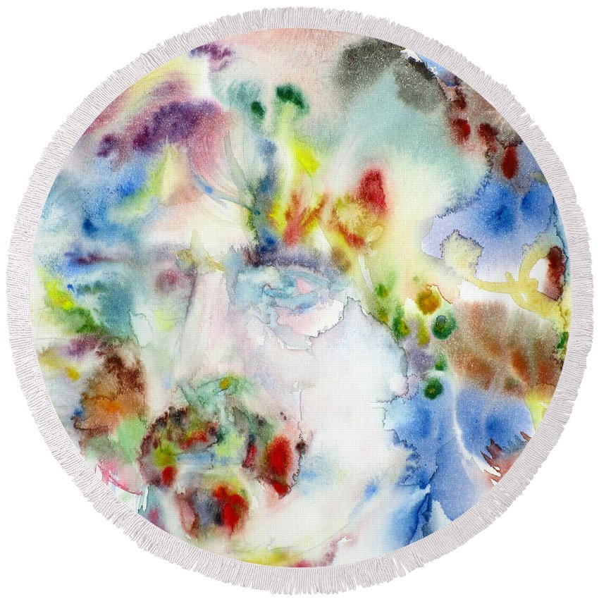 Zappa Round Beach Towel featuring the painting Frank Zappa - Watercolor Portrait.7 by Fabrizio Cassetta