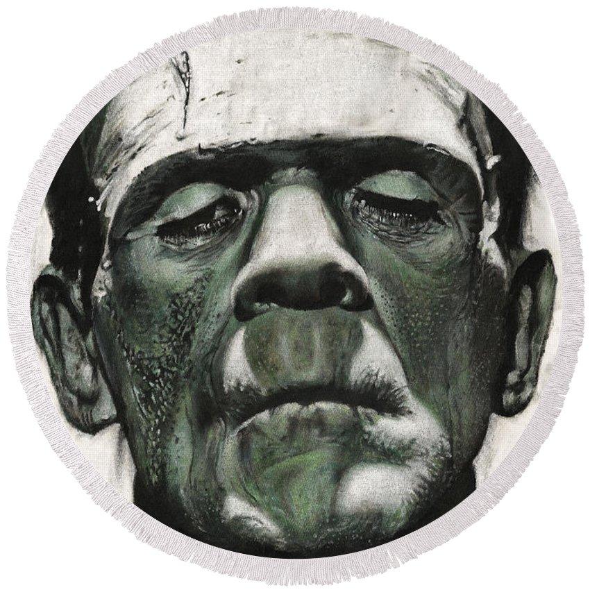 Portrait Round Beach Towel featuring the painting Frankenstein Portrait by Daniel Ayala