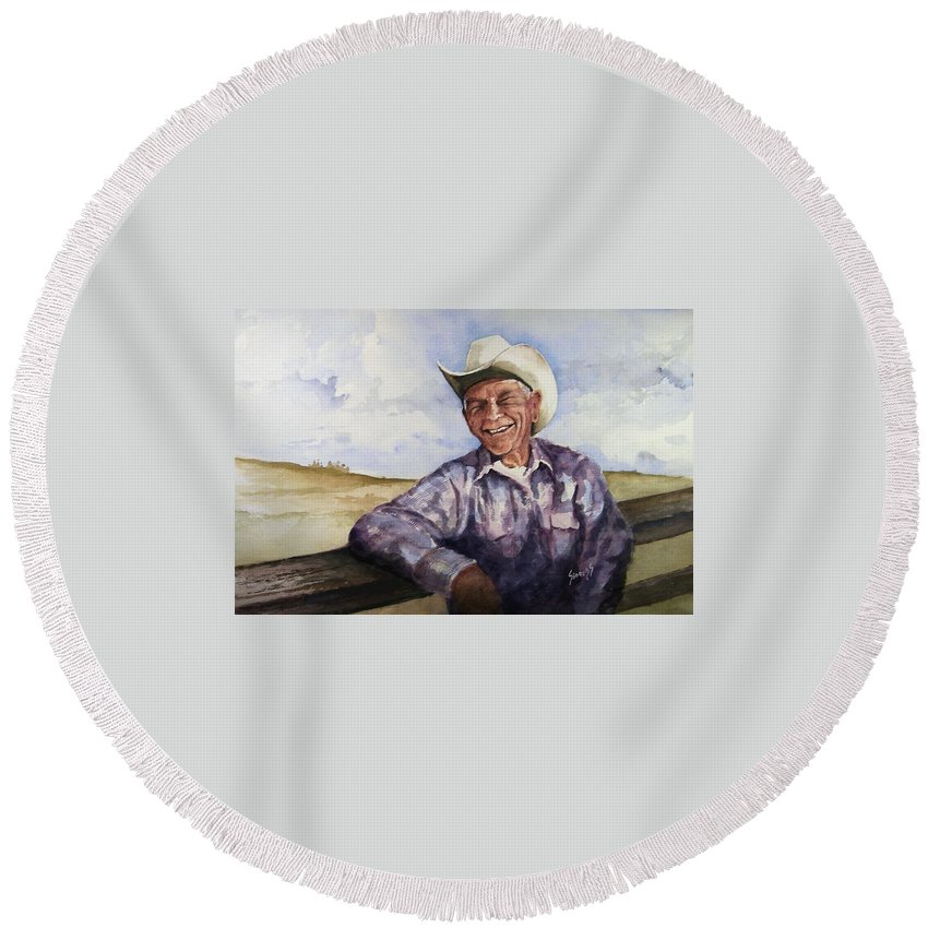 Cowboy Smile Friendly Happy Texan Texas Music Fiddler Round Beach Towel featuring the painting Frankie by Sam Sidders
