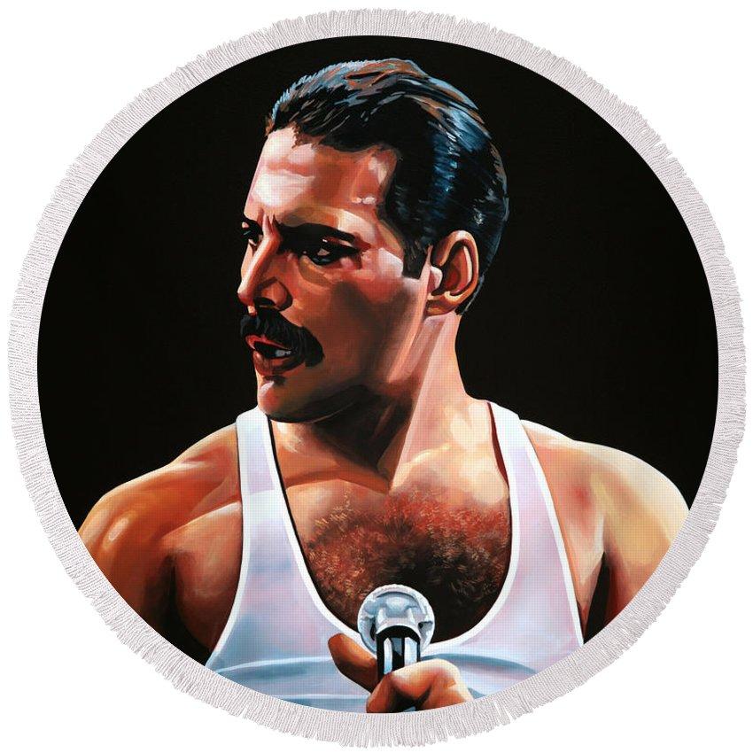 Freddie Mercury Round Beach Towel featuring the painting Freddie Mercury by Paul Meijering