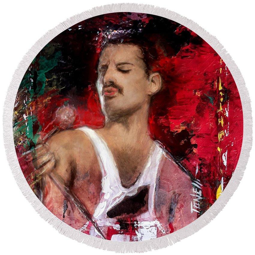 Freddie Mercury Round Beach Towel featuring the mixed media Queen Freddie Mercury by Mark Tonelli