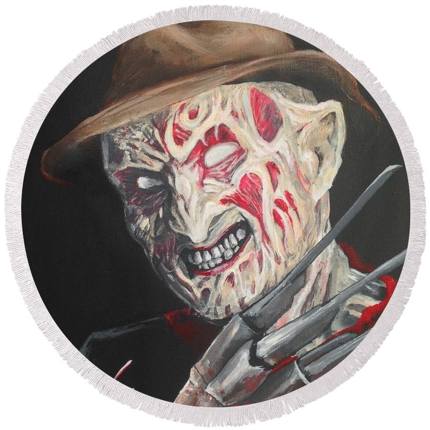 Nightmare Round Beach Towel featuring the painting Freddy's Back by Tyler Haddox