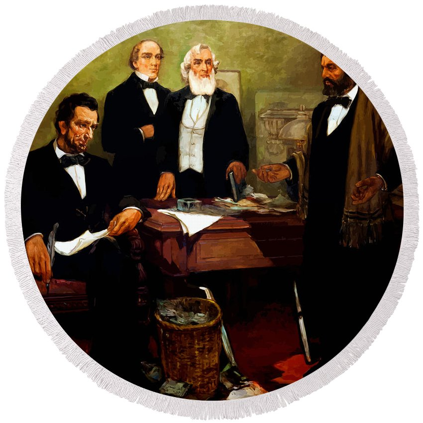 Frederick Douglass Round Beach Towel featuring the painting Frederick Douglass Appealing To President Lincoln by War Is Hell Store