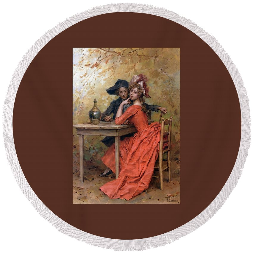 Kaemmerer Round Beach Towel featuring the painting Frederick Hendrik by MotionAge Designs