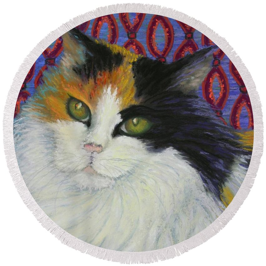 Cat Round Beach Towel featuring the painting Fred's Cat by Minaz Jantz
