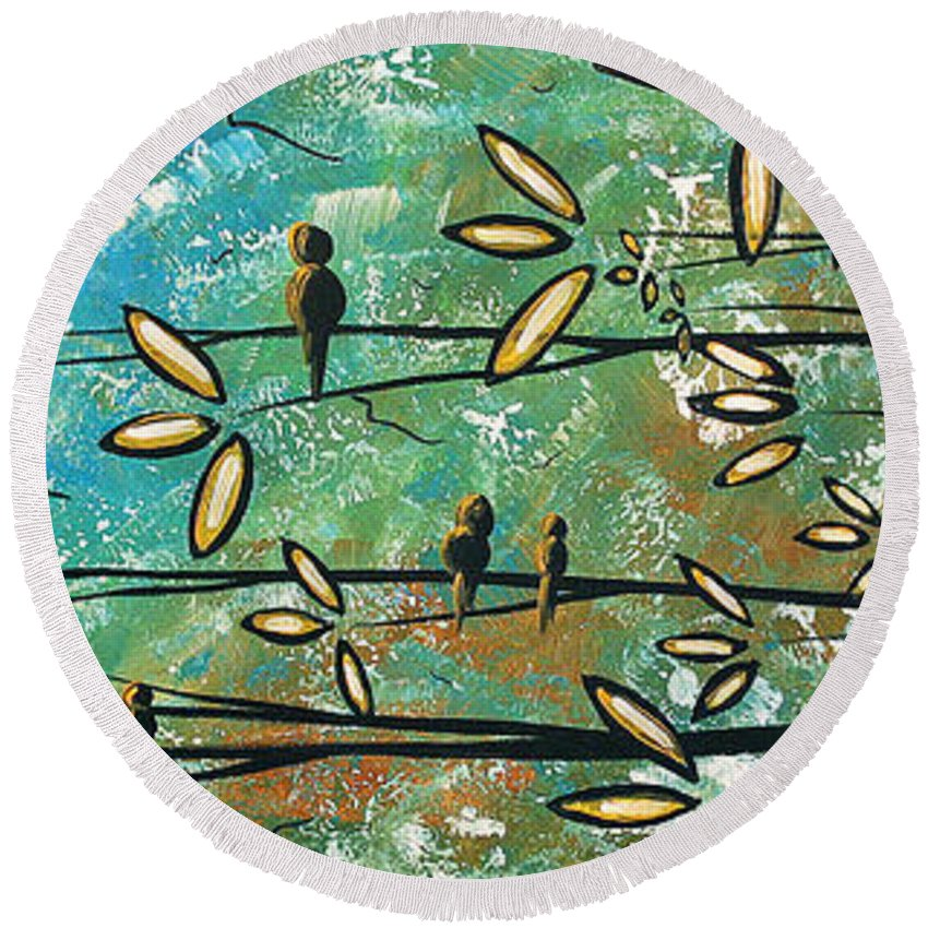 Art Round Beach Towel featuring the painting Free As A Bird By Madart by Megan Duncanson