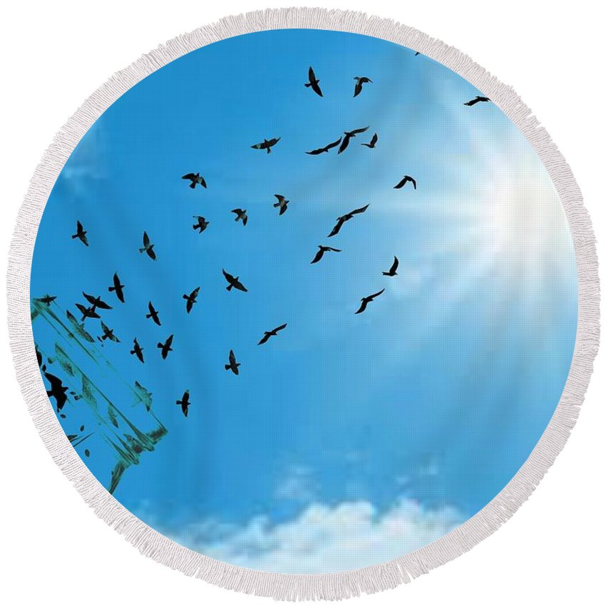 Sky Round Beach Towel featuring the digital art Free Bird by Ashikur Rahman