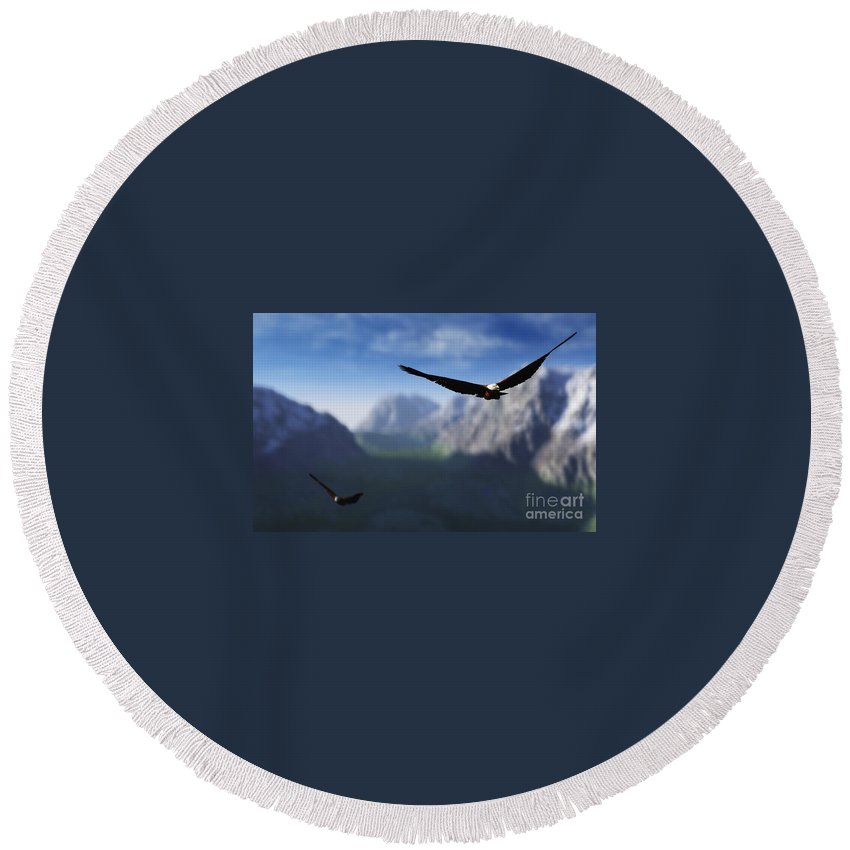 Eagles Round Beach Towel featuring the digital art Free Bird by Richard Rizzo