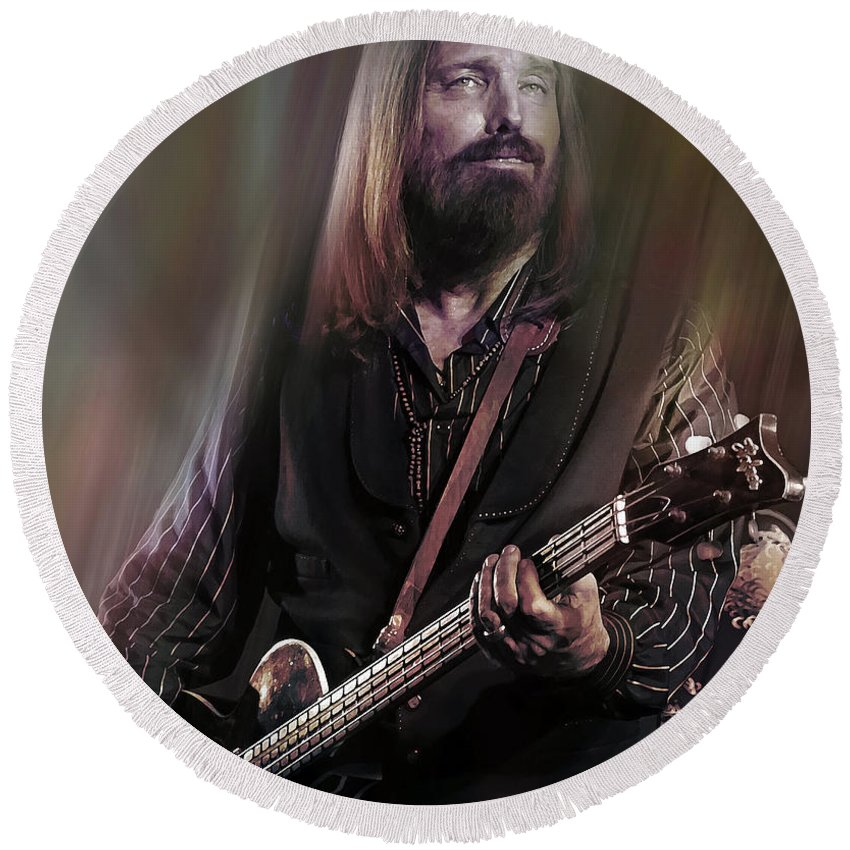 Tom Petty Round Beach Towel featuring the mixed media Free Fallin by Mal Bray