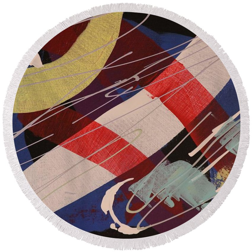 Acrylic Round Beach Towel featuring the painting Free Falling - 278 by Robert Dixon