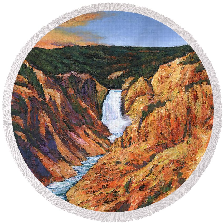 Wyoming Round Beach Towel featuring the painting Free Falling by Johnathan Harris