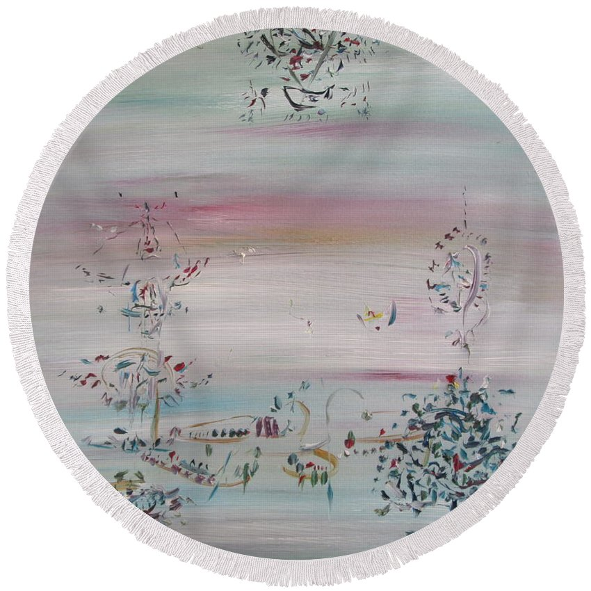 Abstract Round Beach Towel featuring the painting Free Improvisation #10 by Fabrizio Cassetta