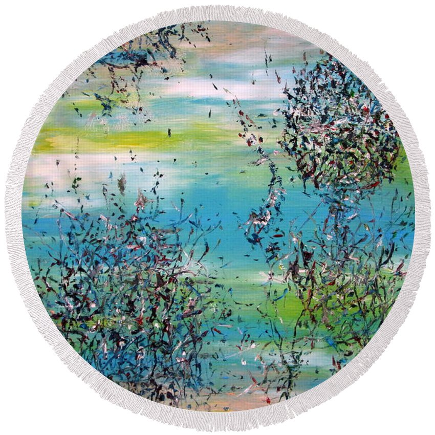 Abstract Round Beach Towel featuring the painting Free Improvisation #11 by Fabrizio Cassetta