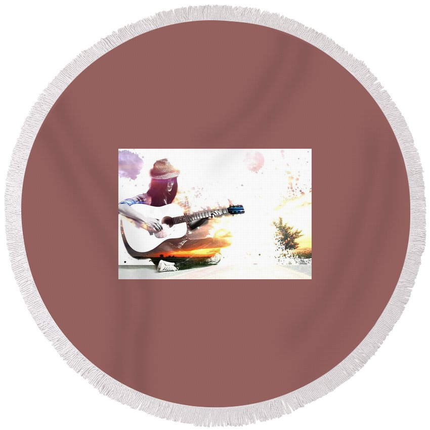 Its Guiter Time Round Beach Towel featuring the digital art Free Time by Ashikur Rahman