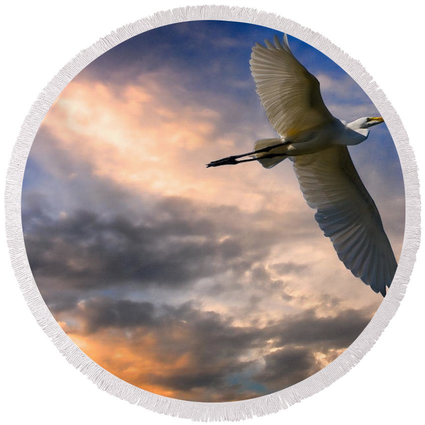 Egret Round Beach Towel featuring the photograph Freedom by Chris Lord