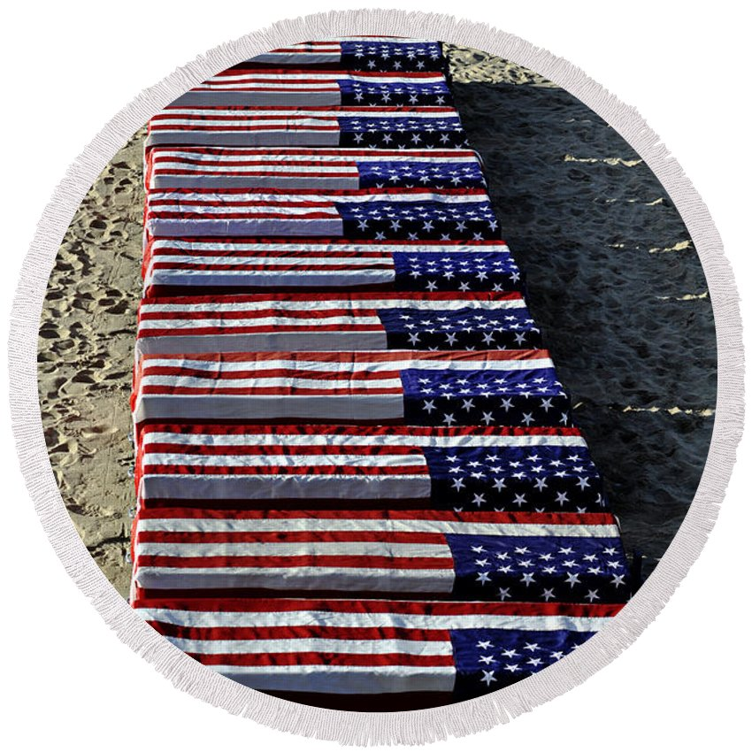 Clay Round Beach Towel featuring the photograph Freedom Costs by Clayton Bruster