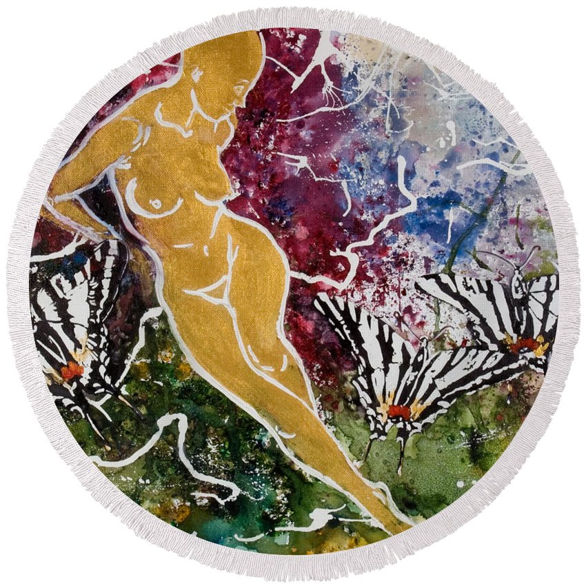 Nude Round Beach Towel featuring the painting Freedom by Elisabeta Hermann