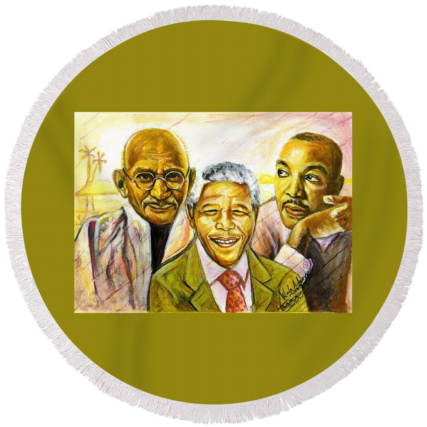 Portrait Paintings Round Beach Towel featuring the painting Freedom Hero by Wale Adeoye