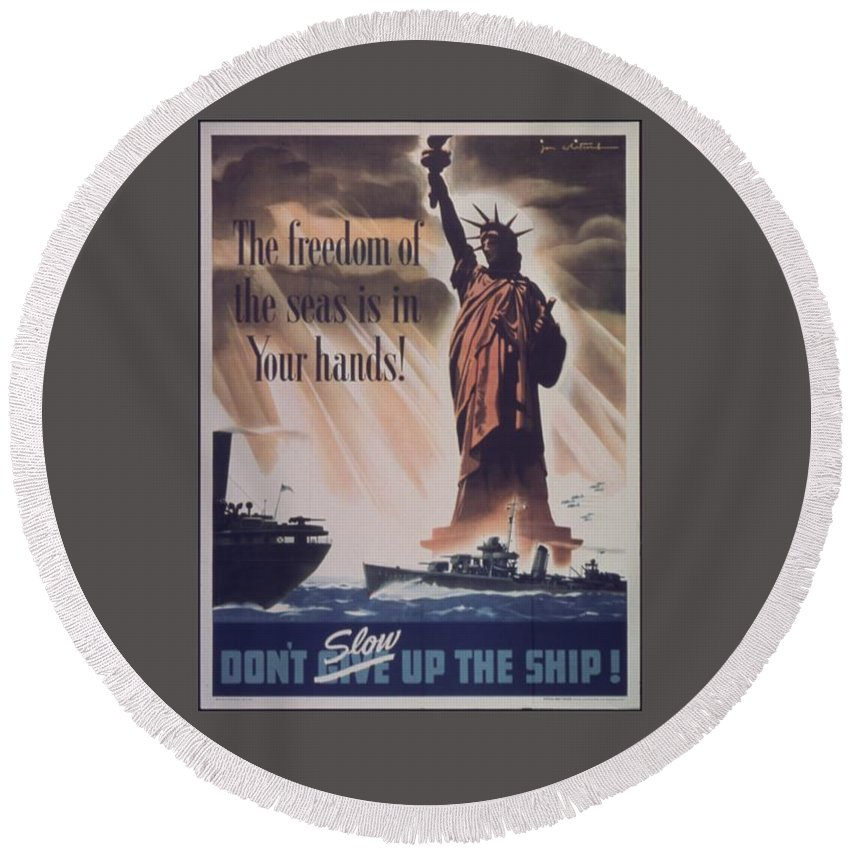 Vintage Round Beach Towel featuring the digital art Freedom Of The Seas by Frederick Holiday