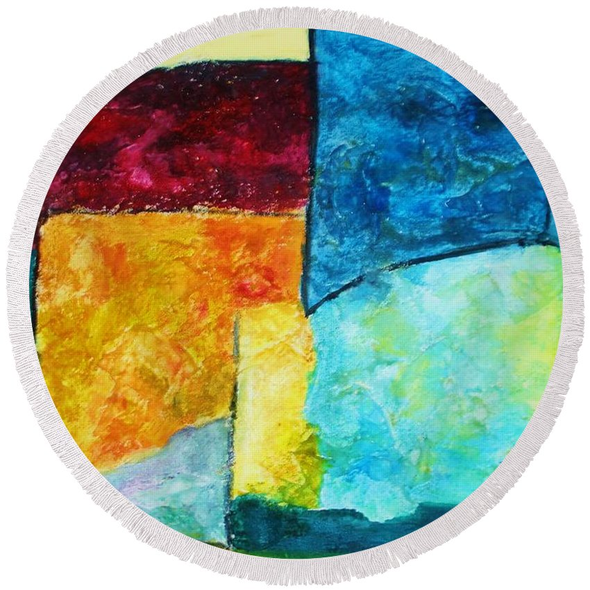 Acrylic Painting Round Beach Towel featuring the painting Freedom by Yael VanGruber