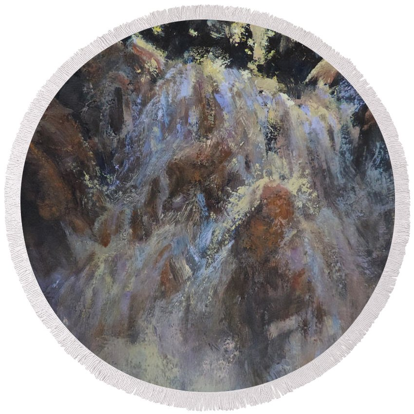 Waterfall Round Beach Towel featuring the painting Freefall by Mia DeLode