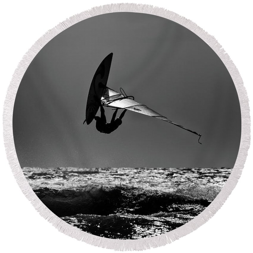 Sport Round Beach Towel featuring the photograph Freestyle by Stelios Kleanthous