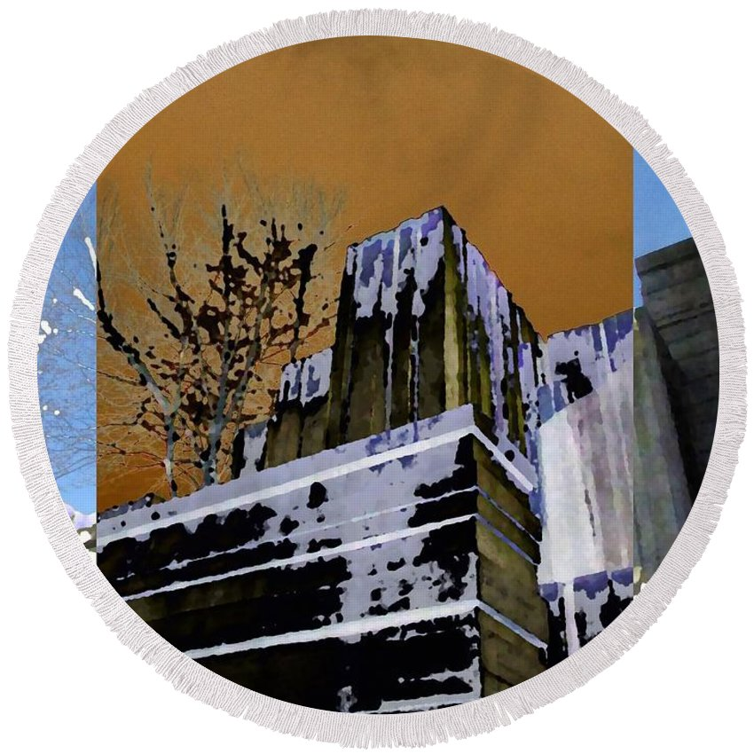 Seattle Round Beach Towel featuring the photograph Freeway Park 7 by Tim Allen
