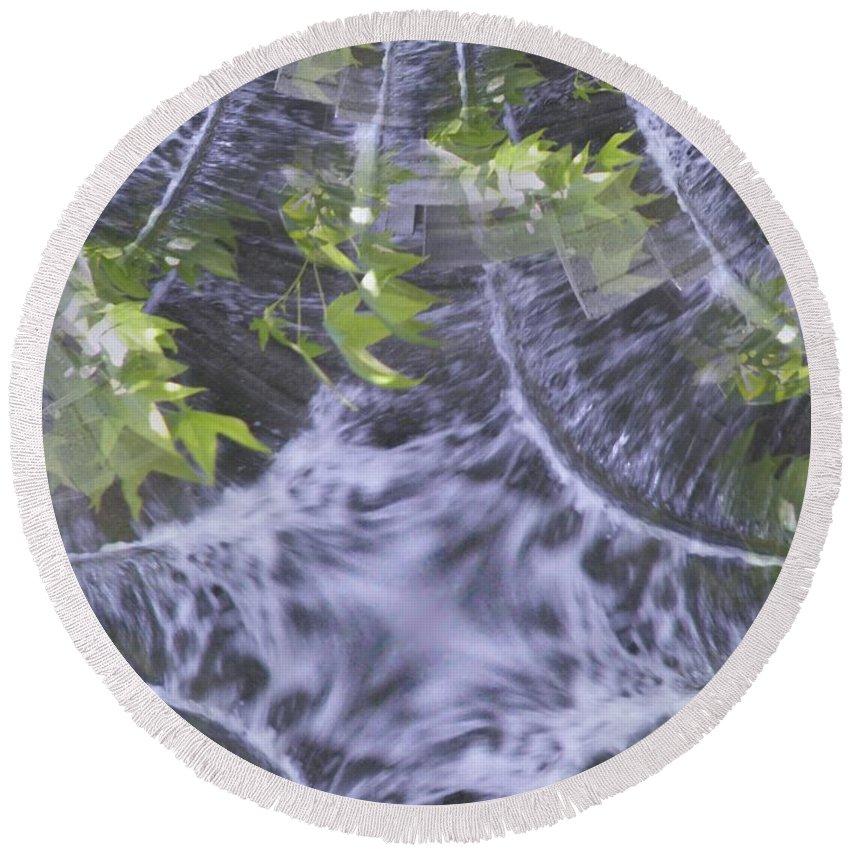 Seattle Round Beach Towel featuring the digital art Freeway Park Waterfall 2 by Tim Allen