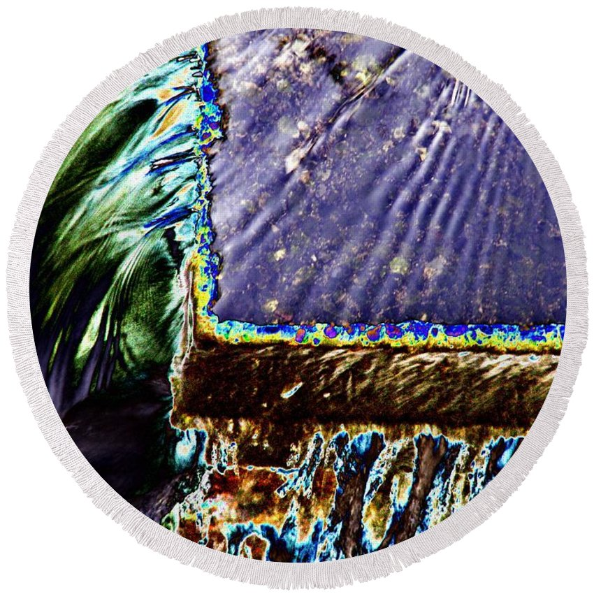 Seattle Round Beach Towel featuring the digital art Freeway Park Waterfall by Tim Allen