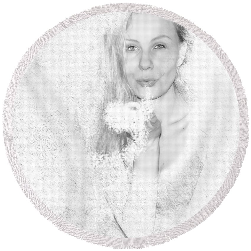 Woman Round Beach Towel featuring the photograph Freezing Summer by Alex Art and Photo