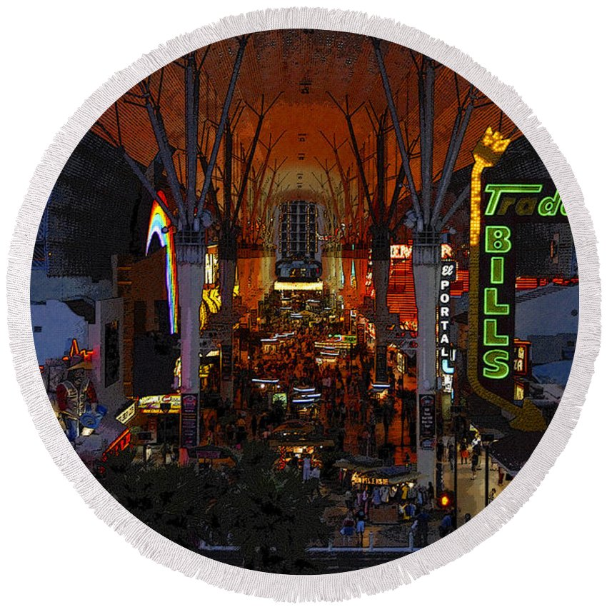 Art Round Beach Towel featuring the painting Fremont Street Nevada by David Lee Thompson