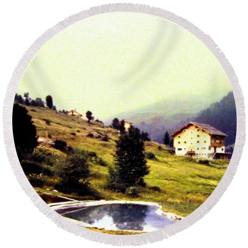 1955 Round Beach Towel featuring the photograph French Alps 1955 by Will Borden